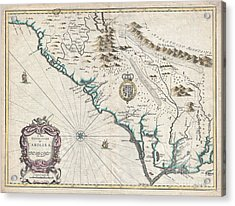 1676 John Speed Map Of Carolina Acrylic Print