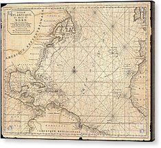 1683 Mortier Map Of North America The West Indies And The Atlantic Ocean  Acrylic Print