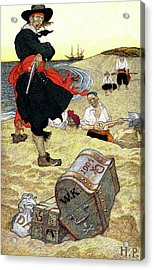 1690s Illustration Pirates On Beach Acrylic Print