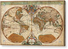 1691 Sanson Map Of The World On Hemisphere Projection Geographicus World Sanson 1691 Acrylic Print by MotionAge Designs