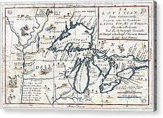 1696 Coronelli Map Of The Great Lakes Acrylic Print by Paul Fearn
