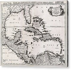 1696 Danckerts Map Of Florida The West Indies And The Caribbean Acrylic Print by Paul Fearn