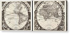 1696 Zahn Map Of The World In Two Hemispheres Geographicus World Zahn 1696 Acrylic Print by MotionAge Designs