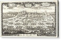 1697 Pufendorf View Of Krakow Cracow Poland Acrylic Print by Paul Fearn