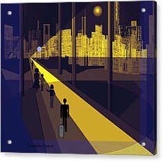 172 -  Nightwalking To The Golden City  Acrylic Print by Irmgard Schoendorf Welch
