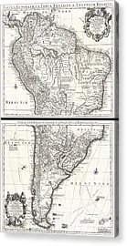 1730 Covens And Mortier Map Of South America Acrylic Print by Paul Fearn