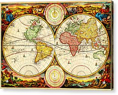 1730 Stoopendaal Map Of The World In Two Hemispheres Geographicus Wereltcaert Stoopendaal 1730 Acrylic Print by MotionAge Designs