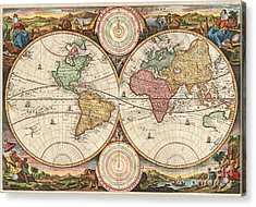 1730 Stoopendaal Map Of The World In Two Hemispheres  Acrylic Print by Paul Fearn