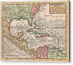 1732 Herman Moll Map Of The West Indies And Caribbean Acrylic Print