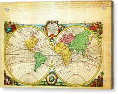1744 Bowen Map Of The World In Hemispheres Geographicus World Bowen 1744 Acrylic Print by MotionAge Designs