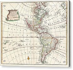 1747 Bowen Map Of North America And South America Acrylic Print by Paul Fearn