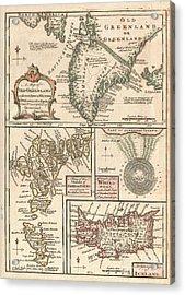 1747 Bowen Map Of The North Atlantic Islands Greenland Iceland Faroe Islands Acrylic Print by Paul Fearn