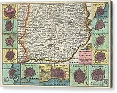 1747 La Feuille Map Of Catalonia Spain Acrylic Print