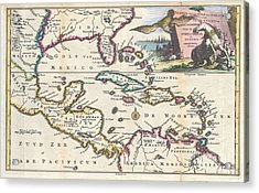 1747 Ruyter Map Of Florida Mexico And The West Indies Acrylic Print by Paul Fearn
