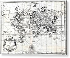 1748 Antique World Map Versuch Von Einer Kurzgefassten Karte  Acrylic Print by Karon Melillo DeVega
