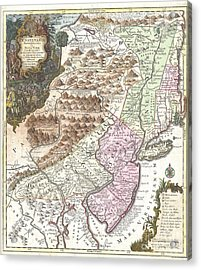 1756 Lotter Map Of Pennsylvania New Jersey And New York Acrylic Print by Paul Fearn