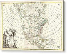 1762 Janvier Map Of North America  Acrylic Print by Paul Fearn