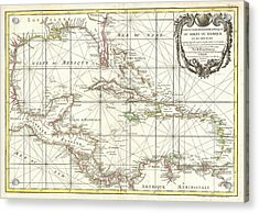 1762 Zannoni Map Of Central America And The West Indies Acrylic Print