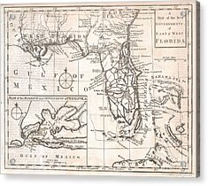 1763 Gibson Map Of East And West Florida Acrylic Print by Paul Fearn