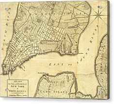 1776 New York City Map Acrylic Print