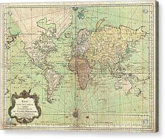 1778 Bellin Nautical Chart Or Map Of The World Acrylic Print