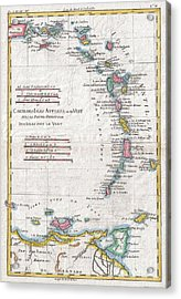 1780 Raynal And Bonne Map Of Antilles Islands Acrylic Print