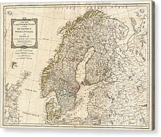 1794 Antique Map Norway Sweden Acrylic Print by Dan Sproul