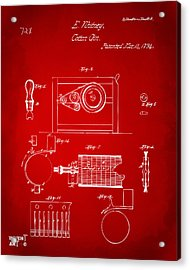 1794 Eli Whitney Cotton Gin Patent 2 Red Acrylic Print