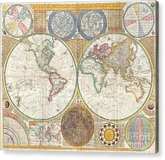 1794 Samuel Dunn Wall Map Of The World In Hemispheres Acrylic Print