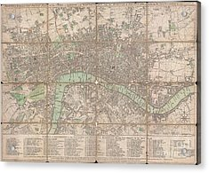 1795 Bowles Pocket Map Of London Acrylic Print by Paul Fearn