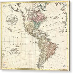 1796 Mannert Map Of North America And South America Acrylic Print by Paul Fearn