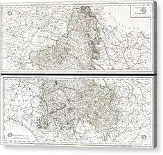 1797 Tardieu Map Of Champagne France Acrylic Print by Paul Fearn