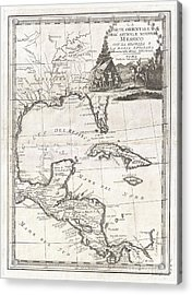 1798 Cassini Map Of Florida Louisiana Cuba And Central America Acrylic Print by Paul Fearn