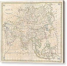 1799 Clement Cruttwell Map Of Asia Acrylic Print by Paul Fearn