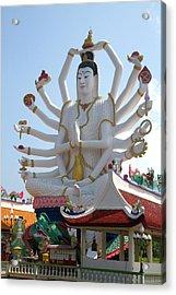 18 Arm Buddha Statue At Wat Plai Laem Acrylic Print by David R. Frazier