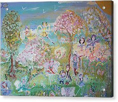 Acrylic Print featuring the painting 18 Fairy Party In Fairyland by Judith Desrosiers