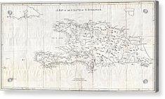 1800 Stockdale Map Of Hispaniola Or Santo Domingo West Indies Haiti Dominican Republic Acrylic Print by Paul Fearn