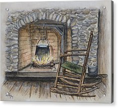 1800s Cozy Cooking .... Fire Place Acrylic Print by Kelly Mills