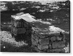 Acrylic Print featuring the photograph 1800's Stone And Wood Bench by Robert Hebert