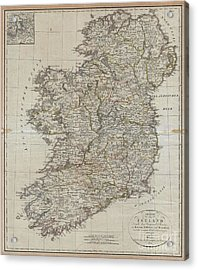 1804 Jeffreys And Kitchin Map Of Ireland Acrylic Print by Paul Fearn
