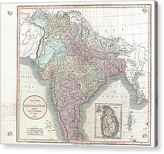 1806 Cary Map Of India Or Hindoostan Acrylic Print by Paul Fearn