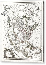 1809 Tardieu Map Of North America  Acrylic Print by Paul Fearn