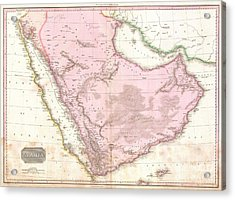 1818 Pinkerton Map Of Arabia And The Persian Gulf Acrylic Print by Paul Fearn