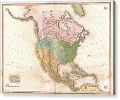 1818 Pinkerton Map Of North America Acrylic Print by Paul Fearn