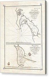 1825 Victoria Map Of San Diego California And San Blas Mexico  Acrylic Print by Paul Fearn