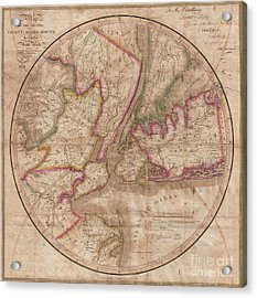 1828 Eddy Map Of New York City And 30 Miles Around Acrylic Print
