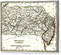 1835 Pennsylvania And New Jersey Map Acrylic Print by Bill Cannon