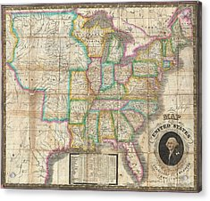 1835 Webster Map Of The United States Acrylic Print by Paul Fearn