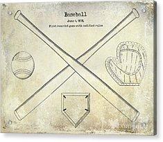 1838 Baseball Drawing  Acrylic Print by Jon Neidert