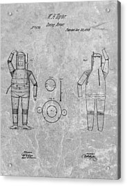 1838 Diving Armor Patent Charcoal Acrylic Print